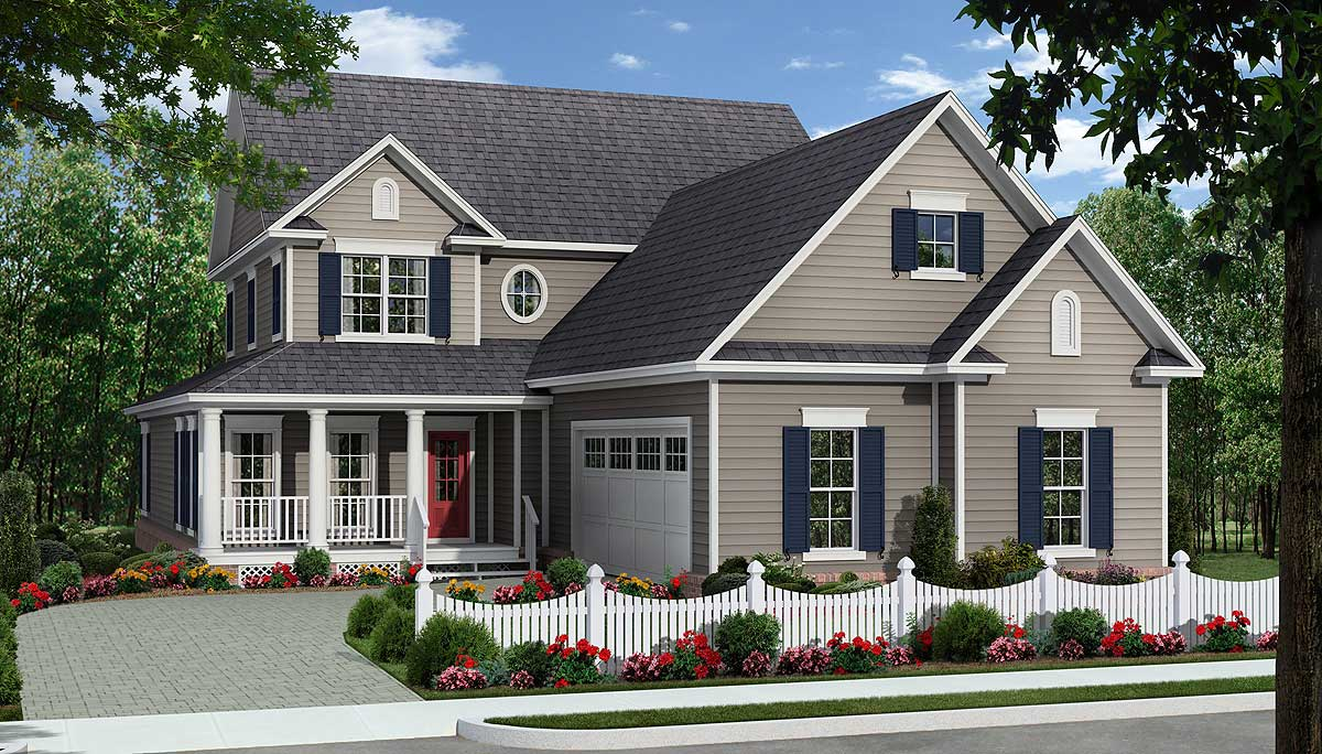 Two Covered Porches And Courtyard Garage 51111mm
