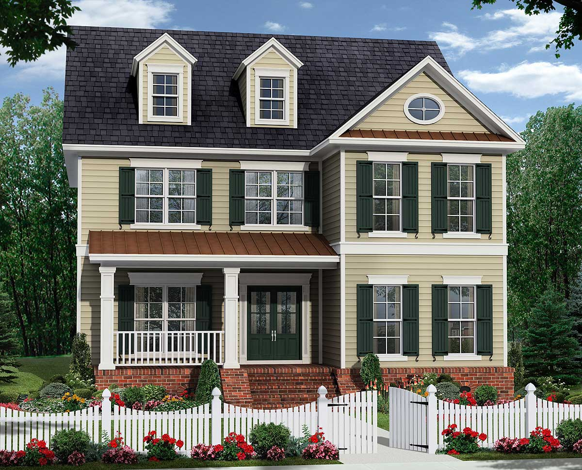 Two Covered Porches With Side Garage Behind 51112mm