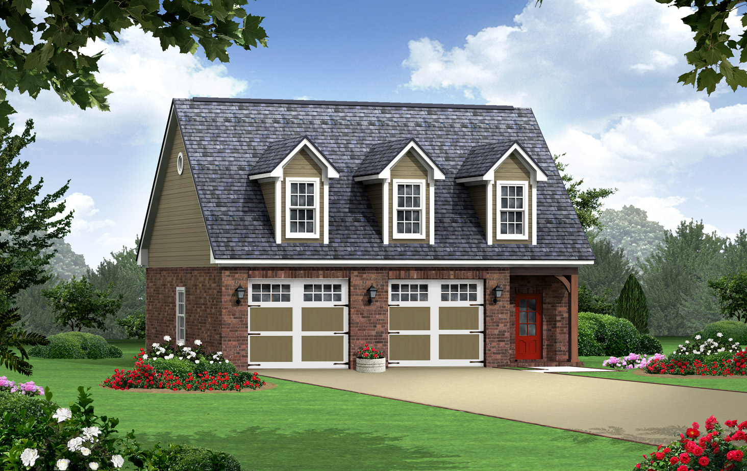 Garage with additional living space 51138mm 2nd floor for Garage designs with living space