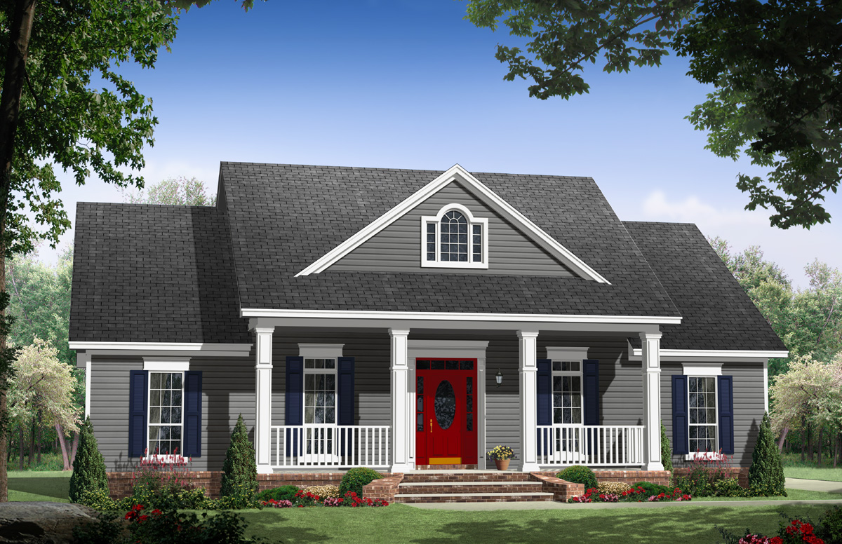 Country comfort with two porches 51164mm country for Usda house plans