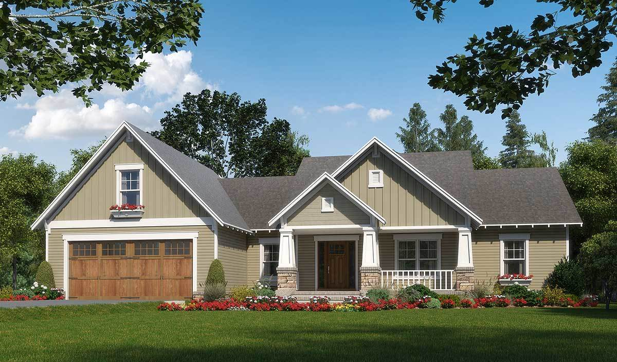 Craftsman with nested gable front 51165mm for Gable house plans
