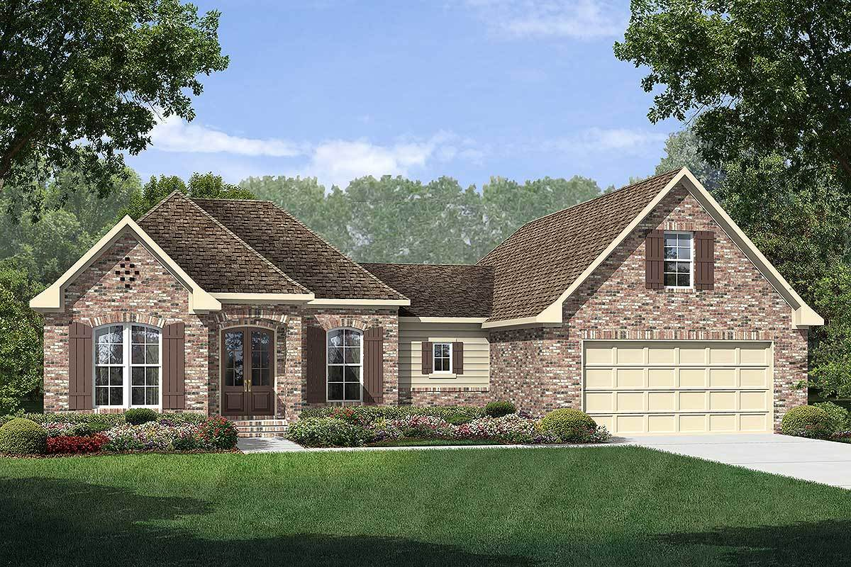 3 bed french country with bonus above garage 51708hz for Country garage plans