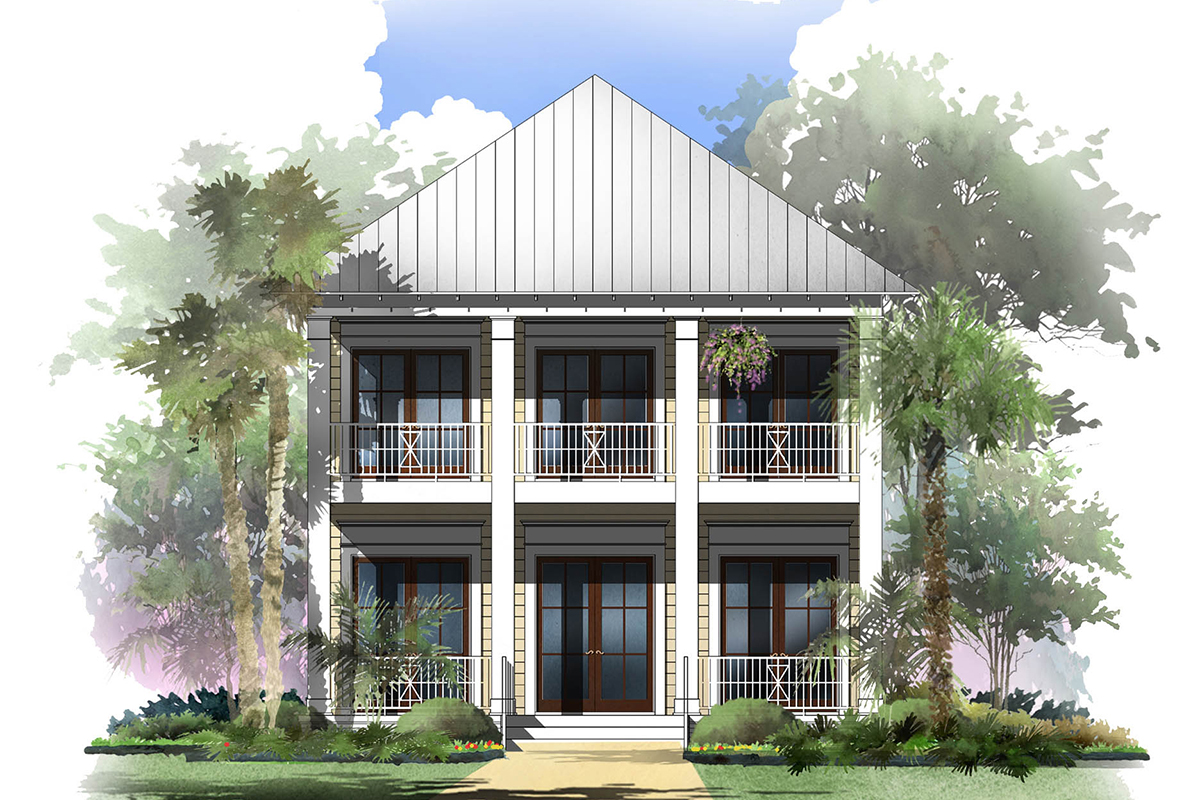 Coastal cottage with 2 master suites 51716hz for House plans with 3 master suites