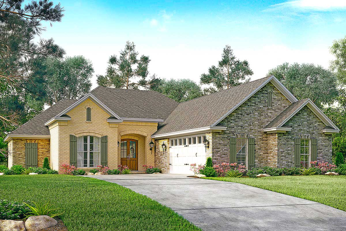 3 bedroom french country with courtyard entry 51719hz for Courtyard entry house plans