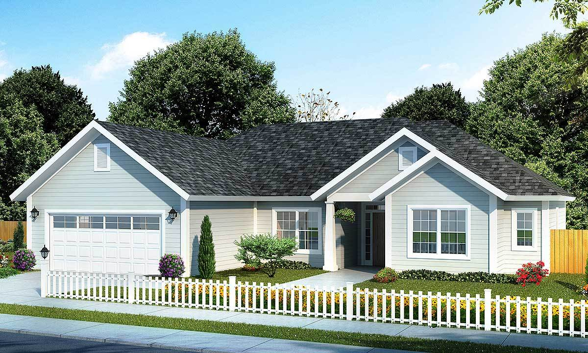 Split bedroom ranch home plan 52200wm architectural for Split ranch home designs