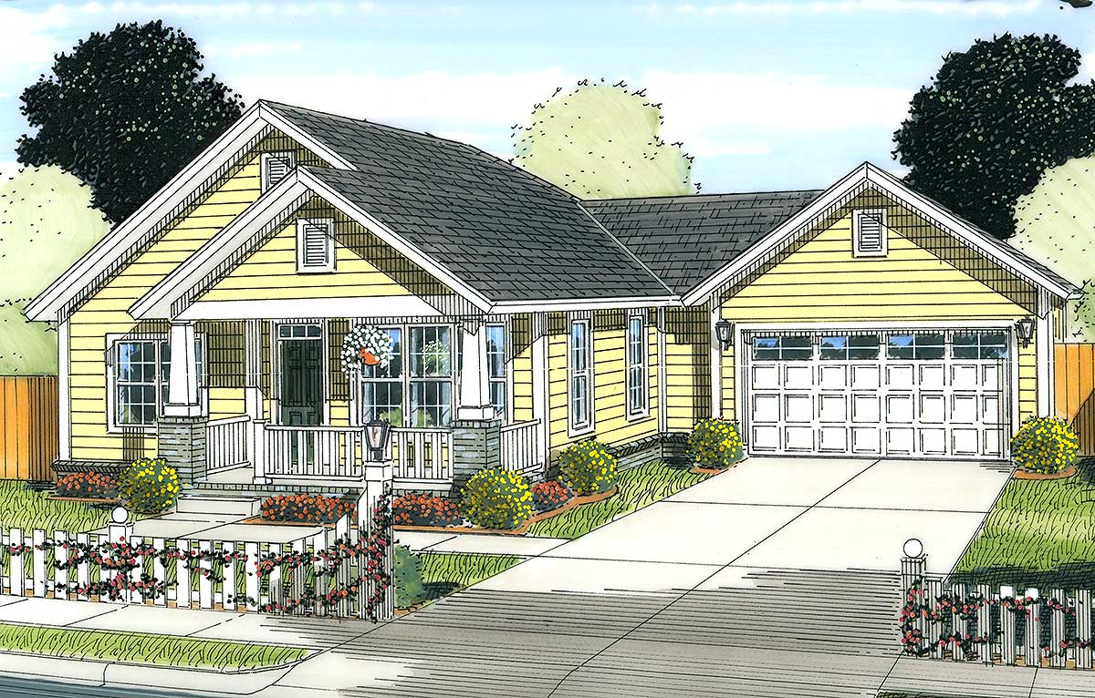 Two Bedroom Starter Home Plan - 52208WM