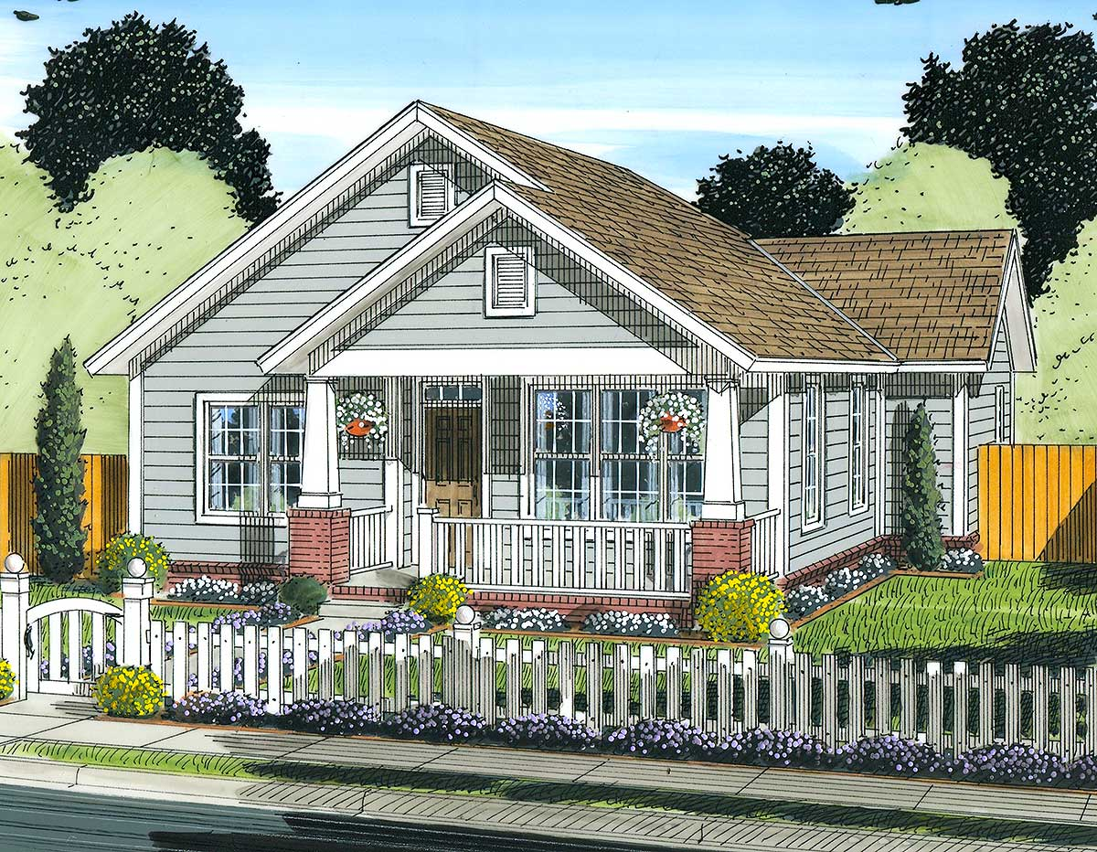 Two bedroom starter home plan 52209wm architectural for Starter house plans