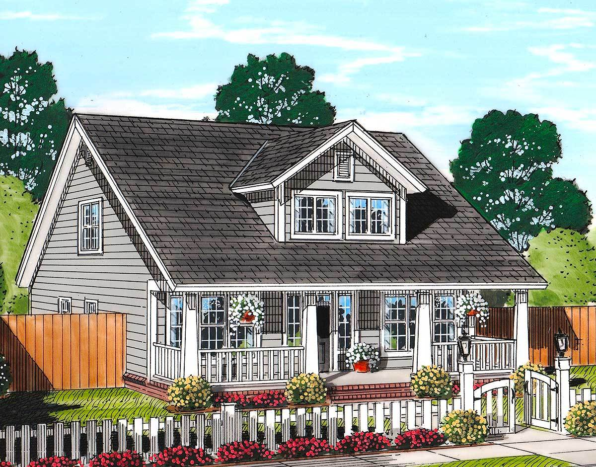 Cozy country cottage with garage option 52223wm for Cottage house plans with garage