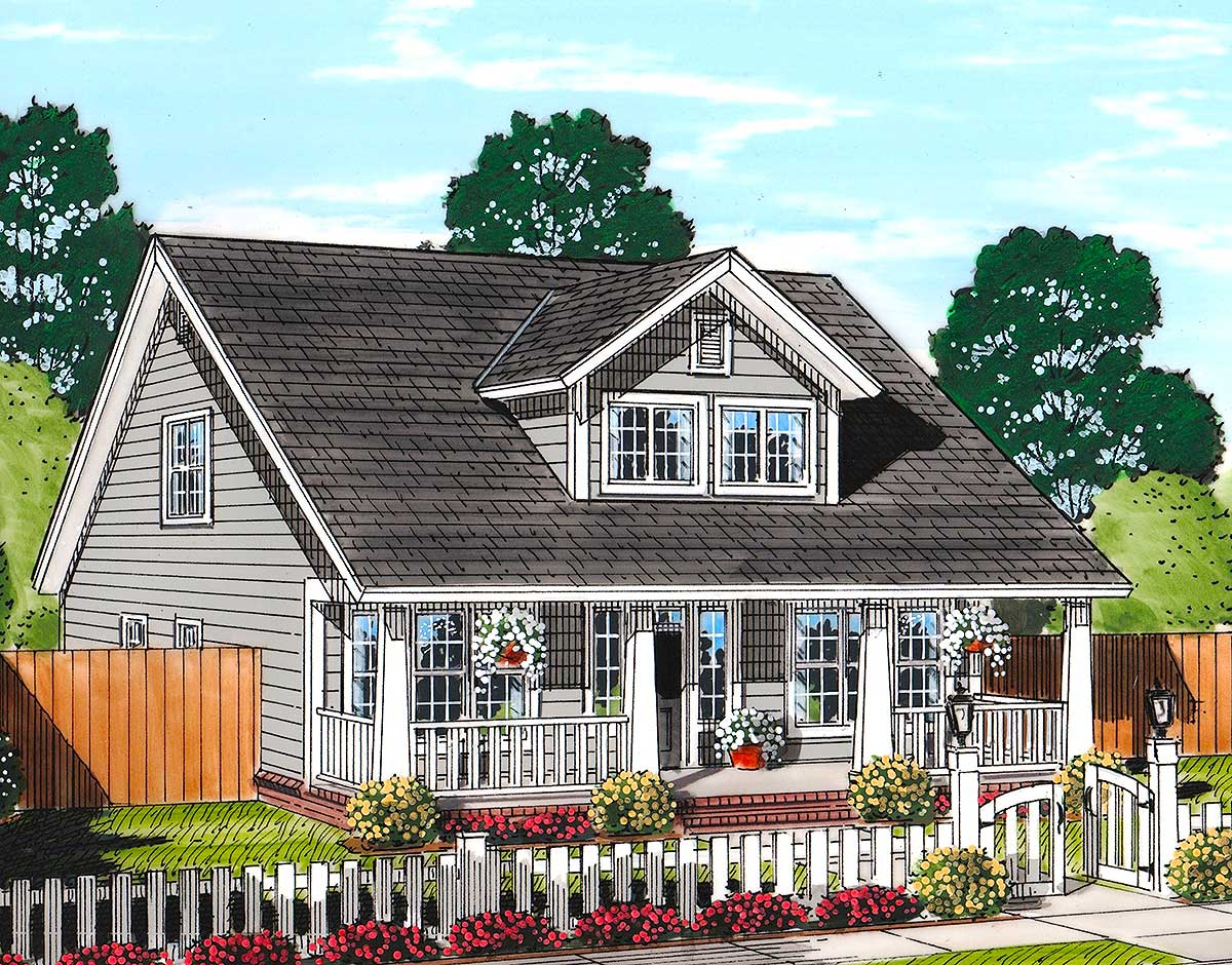 Cozy country cottage with garage option 52223wm 1st for Cottage home plans with garage