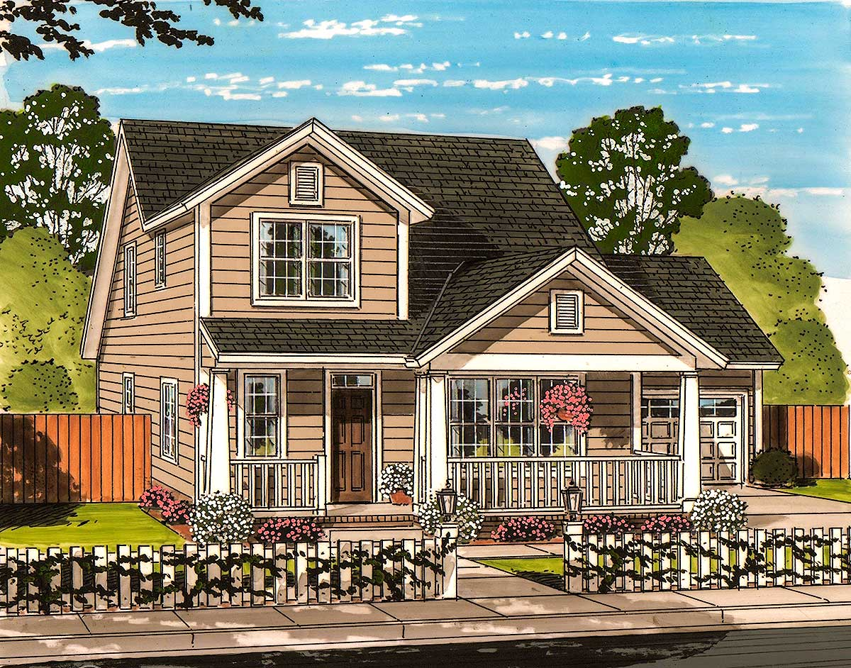 Cozy narrow lot house plan 52243wm architectural for Cozy home plans