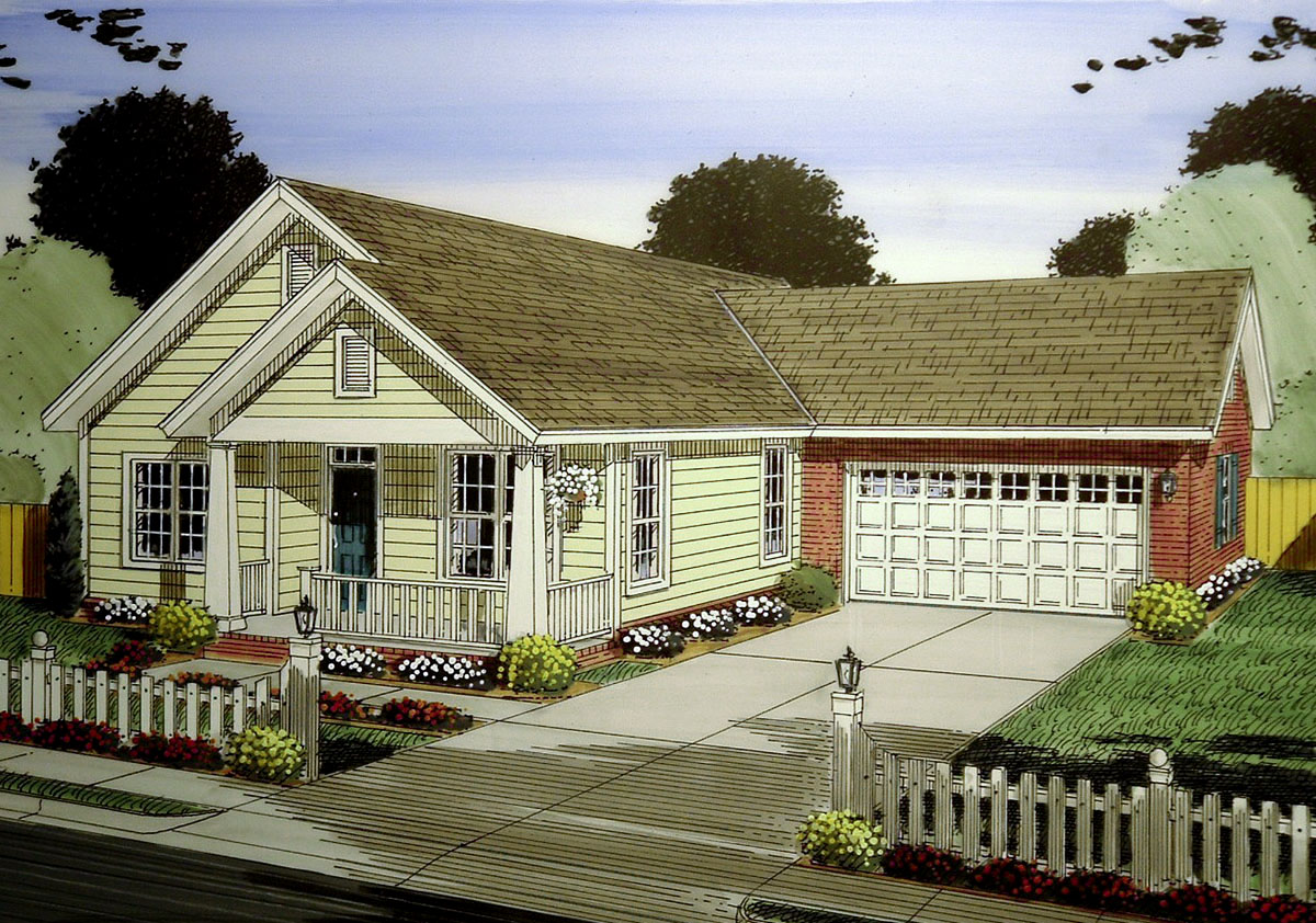 3 bed narrow lot cottage with garage 52251wm for Narrow lot cottage plans