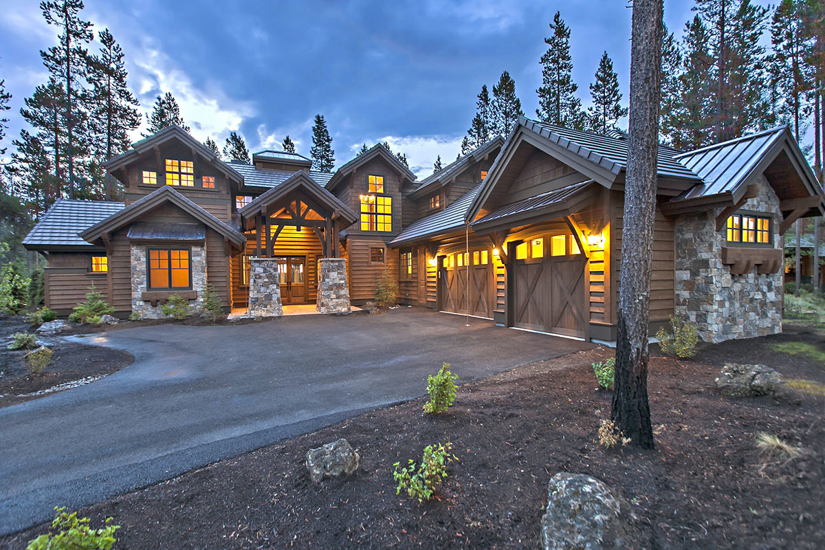 Stunning mountain home with four master suites 54200hu for Mountain lodge home plans