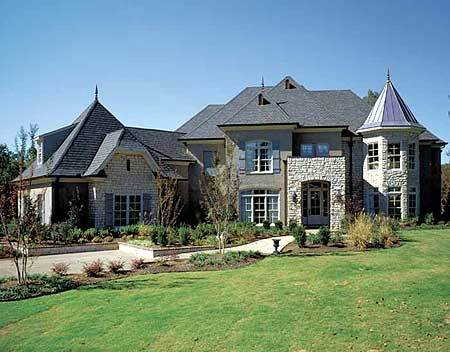 Modern french country estate 5477lk architectural for Large french country house plans