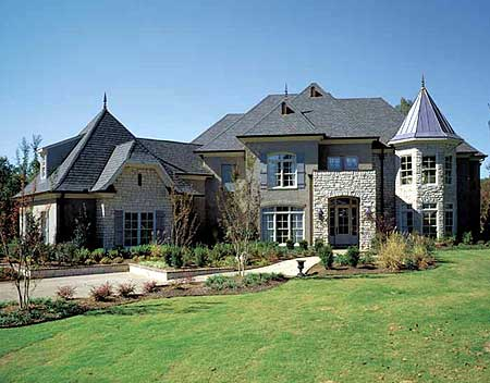 Modern french country estate 5477lk architectural for Contemporary country house plans