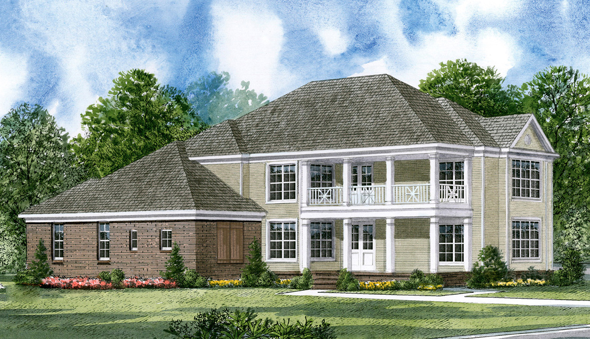 Charleston row house with double porches 5489lk for Charleston home plans