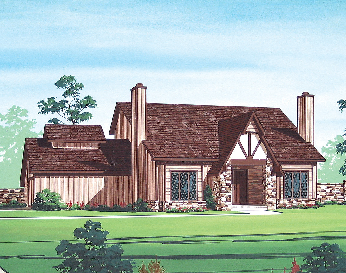 Energy efficient tudor home plan 55087br architectural for Tudor house plans with photos