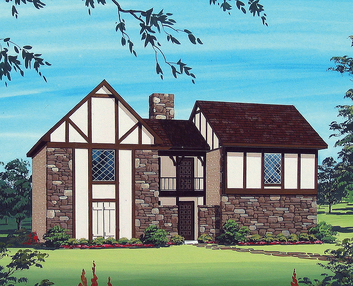 Tudor multi family house plan 55090br architectural for Three family house plans