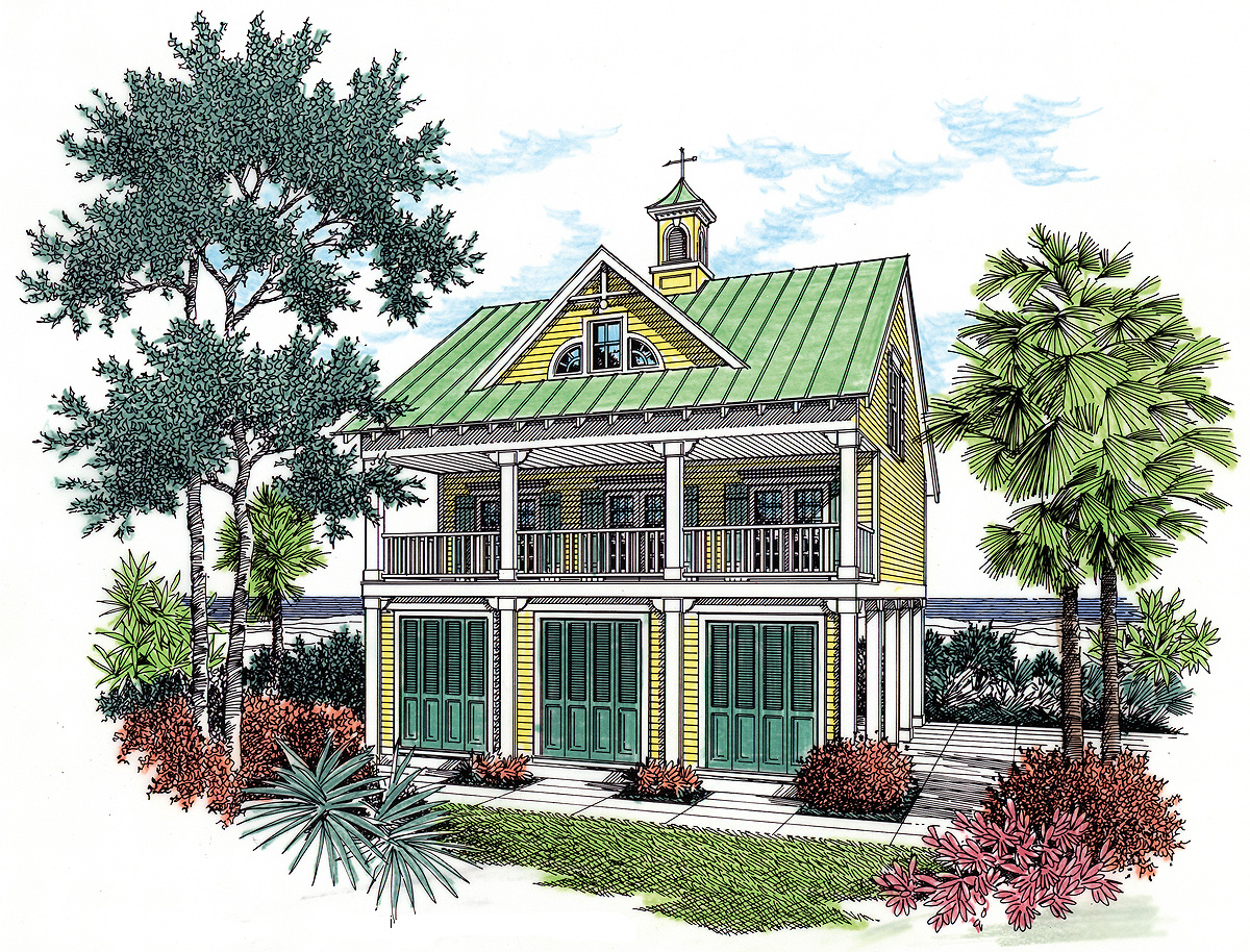 Coastal House Plan With Observation Room 55126BR Architectural