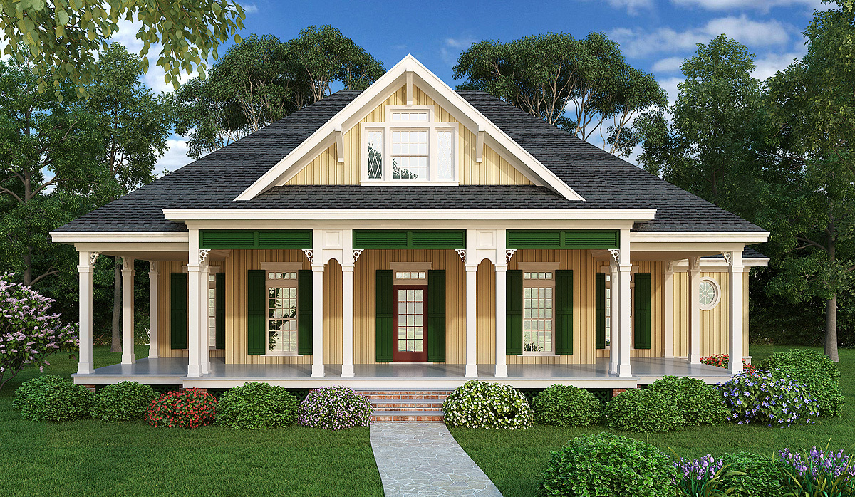 Southern style 3 bed raised cottage 55155br for Raised cottage house plans