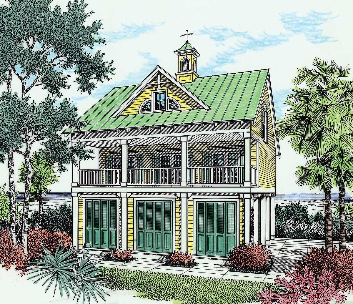 Beach house plan with observation room 5572br 1st for Beach house design pdf