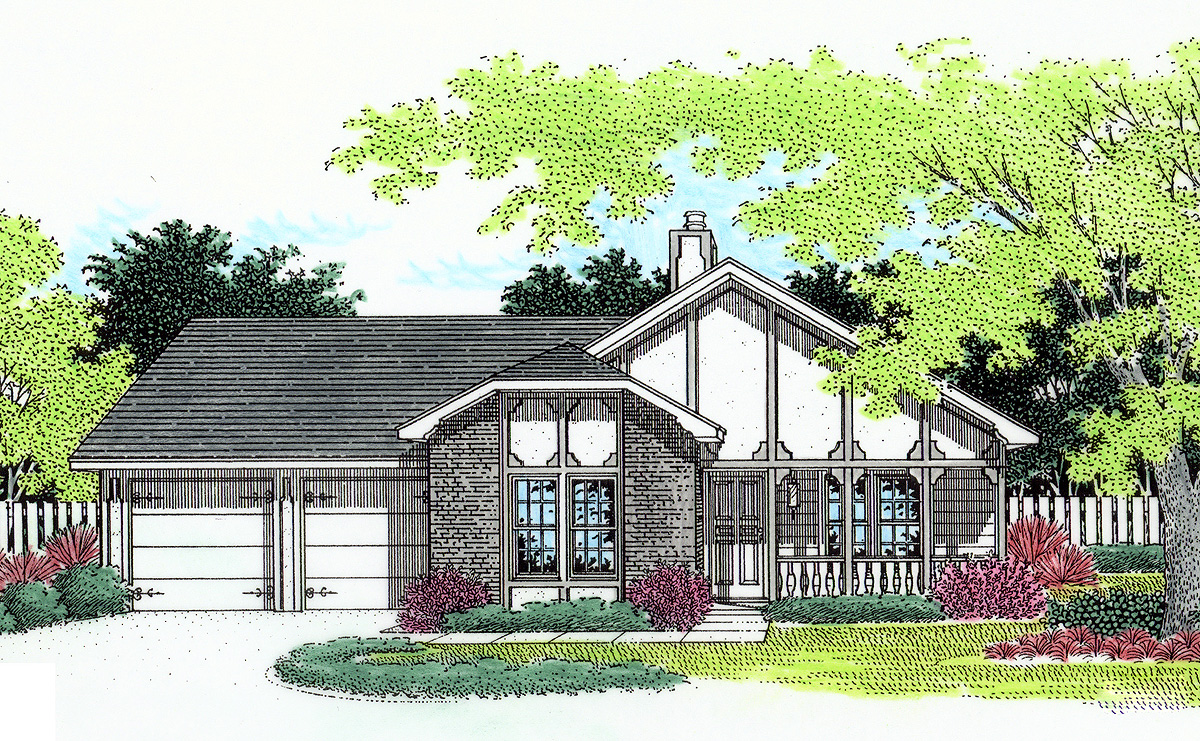 Tudor charm 5597br architectural designs house plans for Tudor home designs