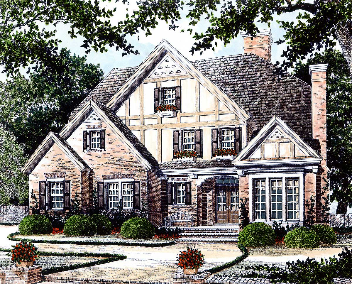 English manor home plan 56107ad 2nd floor master suite for English manor house plans