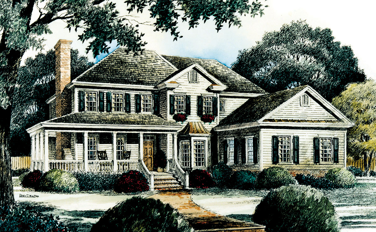 Asymmetrical early american classic 56113ad 1st floor Early american home plans