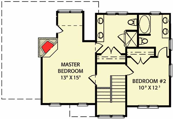 Two bedroom getaway with porch 56148ad 2nd floor for Master bedroom with sitting room floor plans