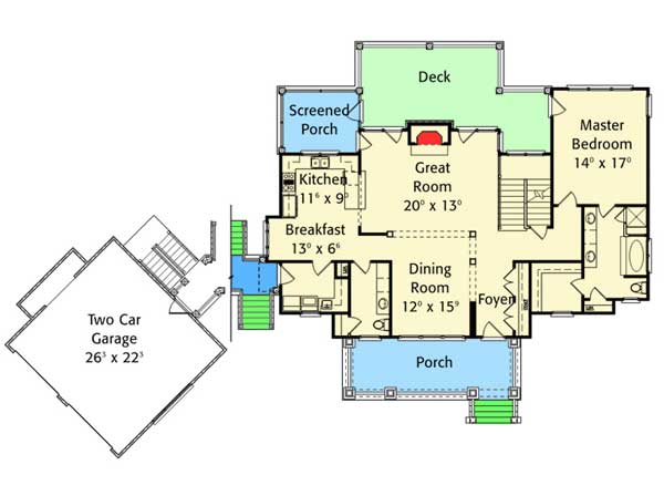 Country delight with 2 car detached garage 56157ad 1st for Detached garage with bonus room plans
