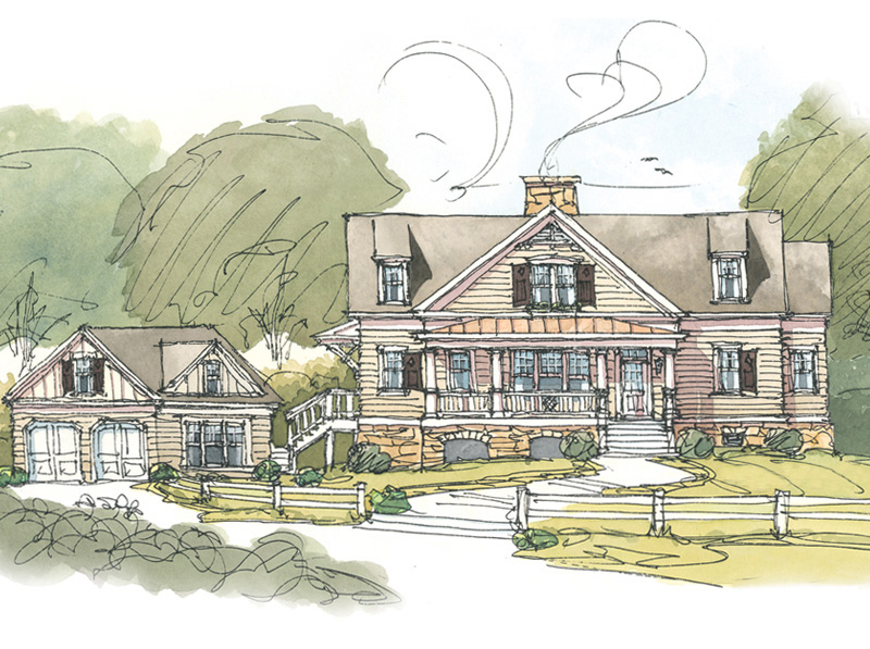 Country delight with 2 car detached garage 56157ad 1st for Two car garage plans with bonus room