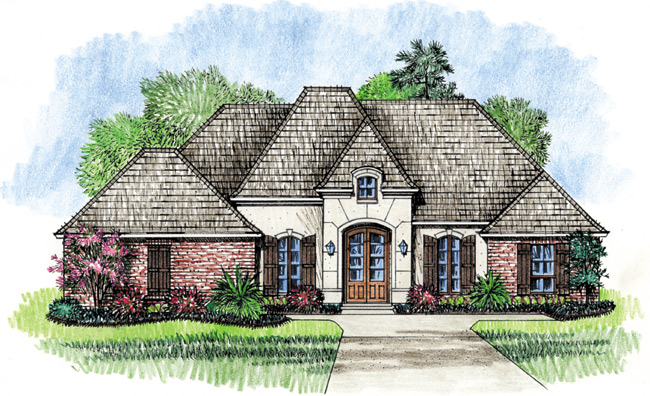 4 bedroom french country home plan 56319sm for French country courtyard
