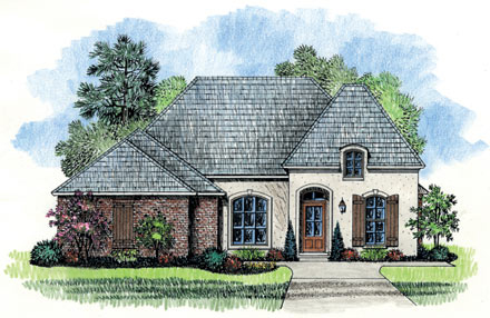 Narrow lot french country home plan 56322sm 1st floor for Narrow corner lot house plans