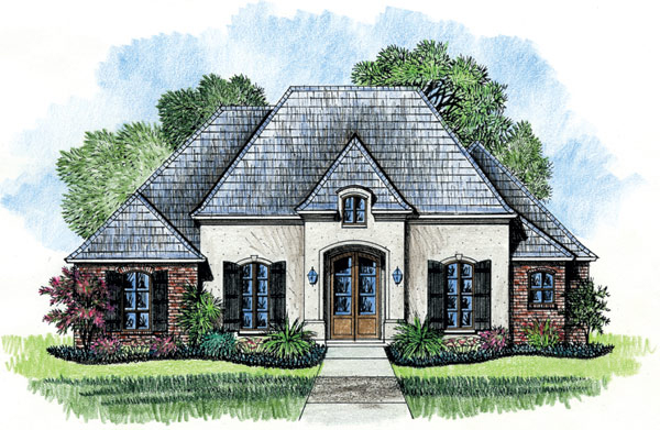 French Country House Plans: French Country With Rear Courtyard