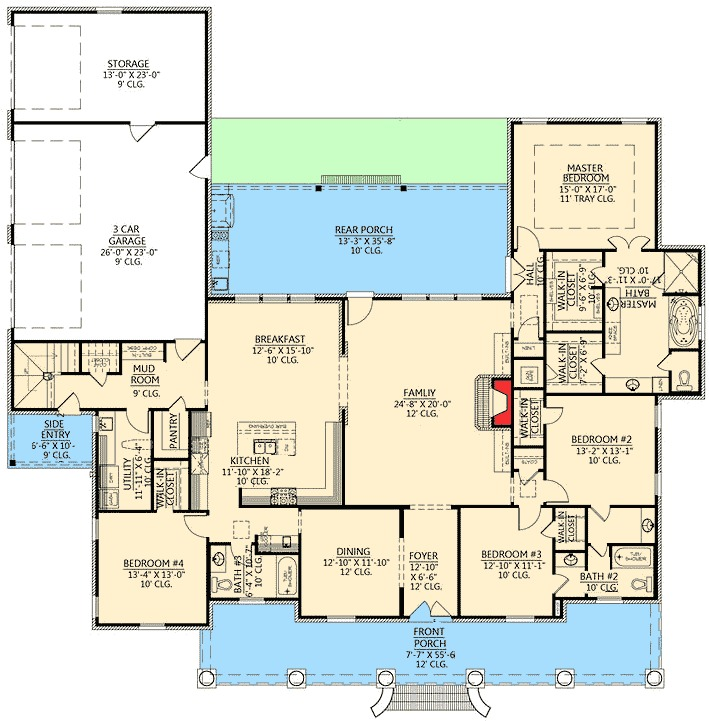 Graceful 4 bedroom acadian home plan 56337sm 1st floor for 4 bedroom floor plans with bonus room