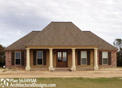 Southern Home Plan with Open Layout 56349SM Architectural