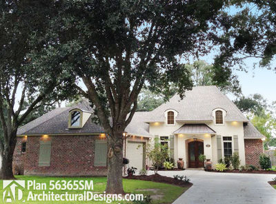 French Country House Plan with Master Hideaway - 56365SM thumb - 01