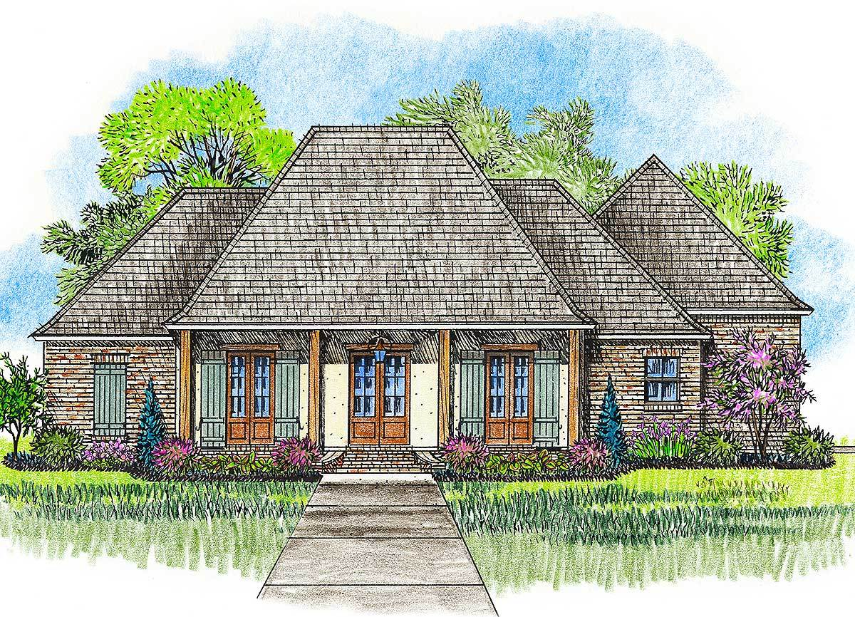 Acadian house plan with great rear porch 56379sm for Acadian home plans