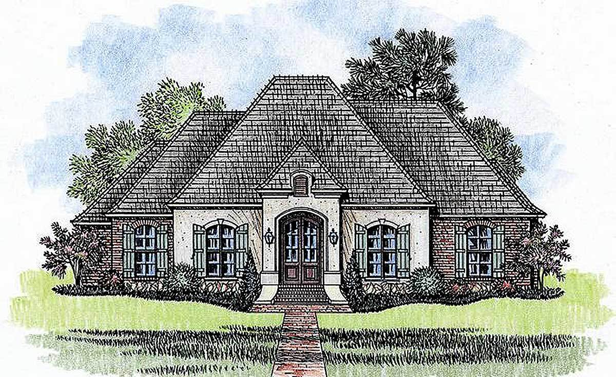 4 bed french country with open floor plan 56380sm for Country house plans with open floor plan