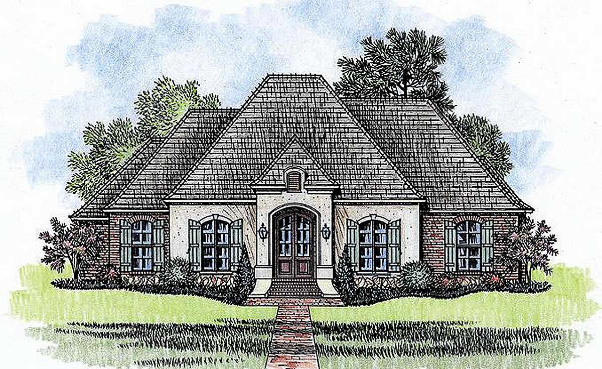 4 bed french country with open floor plan 56380sm for French country house plans open floor plan