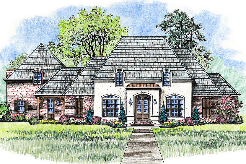 Acadian house plan with entertaining back porch 56383sm for Acadian house plans with bonus room