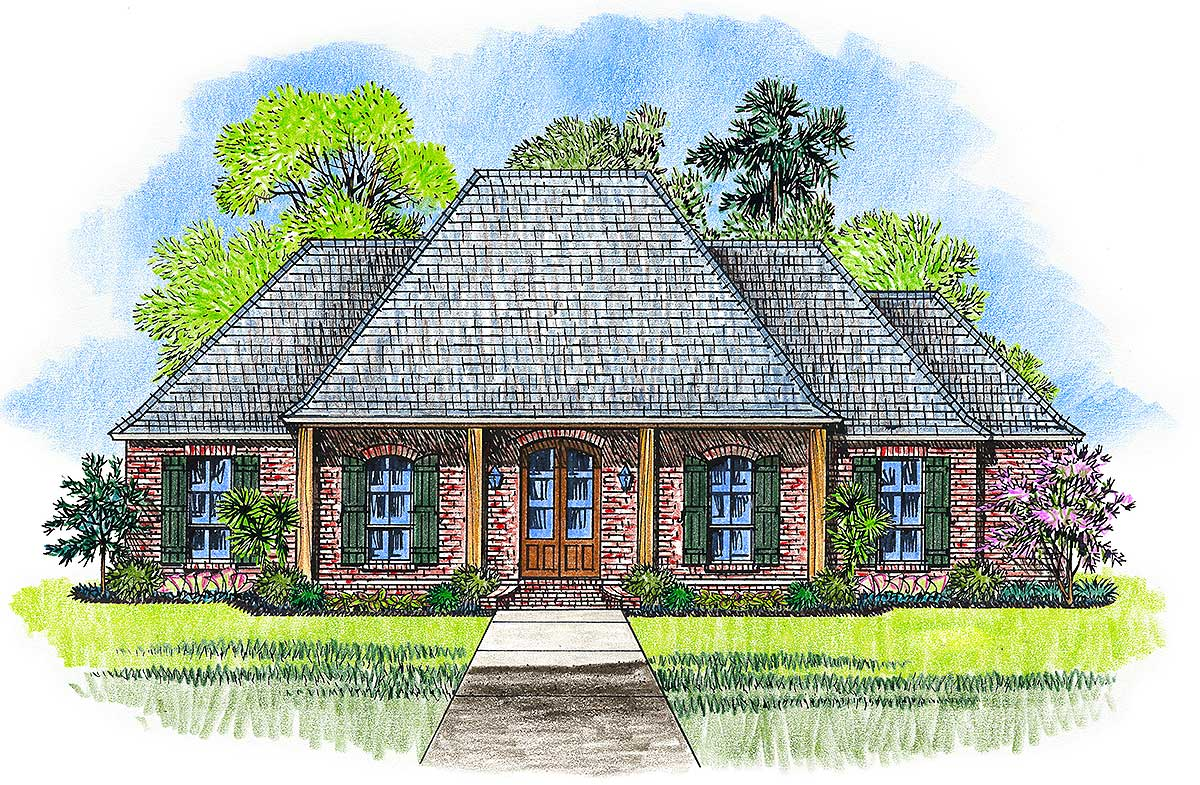 Acadian house plan with pine beam accents 56384sm 1st for Acadian home designs