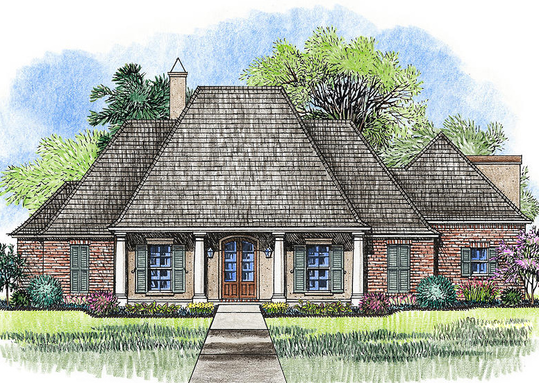 4 bed acadian house plan with bonus room 56385sm 1st for Acadian house plans