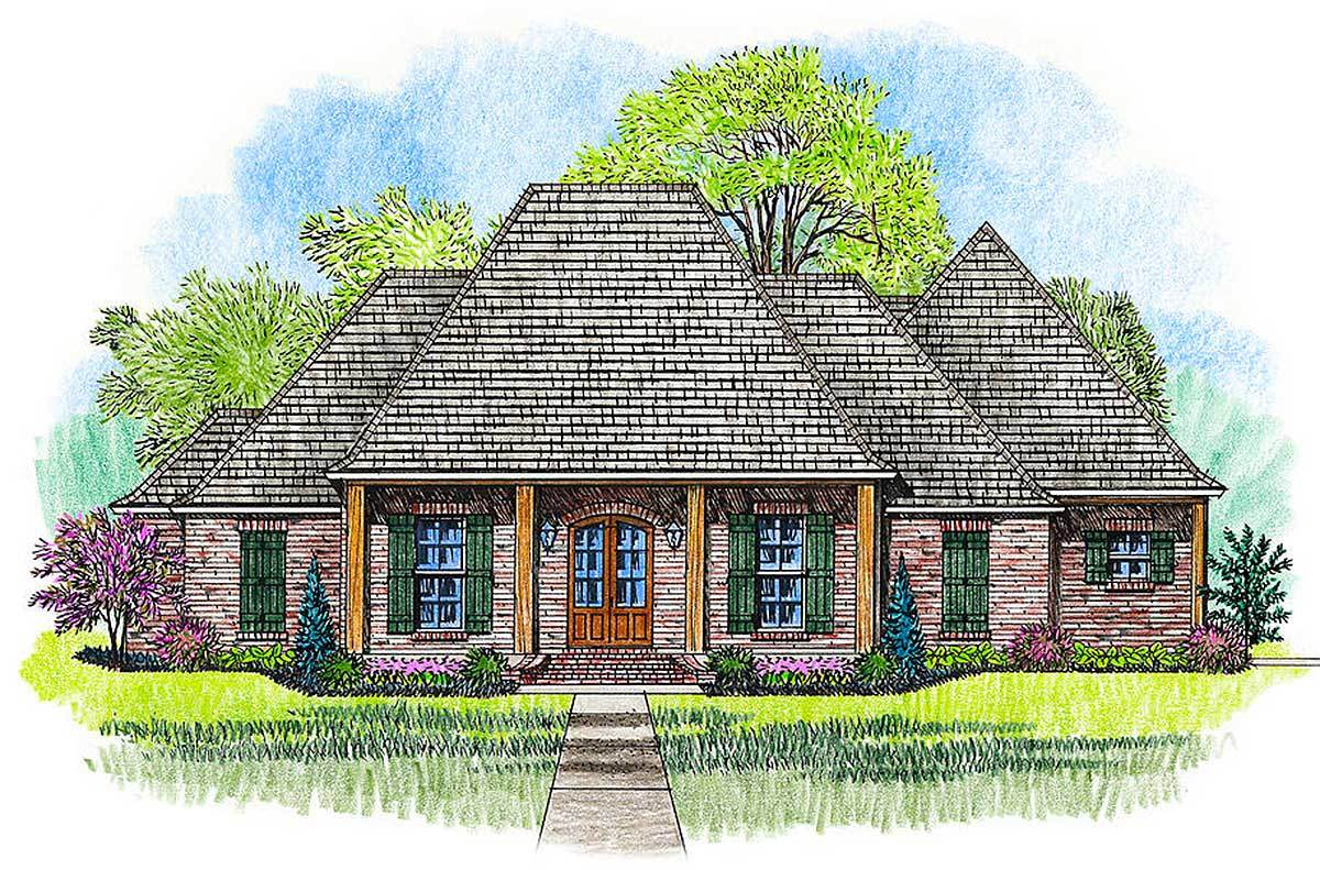 3 bed acadian house plan with bonus room 56403sm for Acadian house plans with bonus room