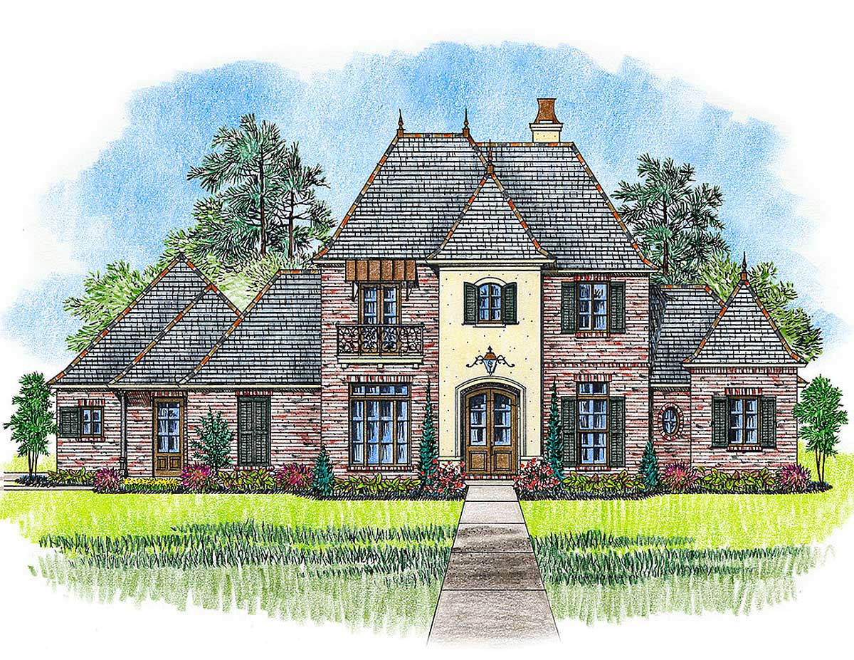 Four bed french country beauty 56404sm architectural for French country plans