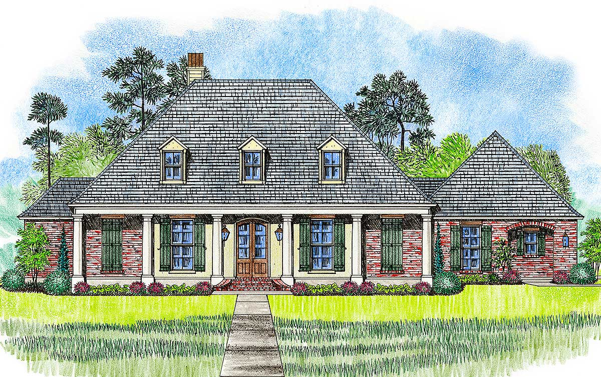 4 bed acadian with generous outdoor living space 56408sm for Home plans with outdoor living spaces