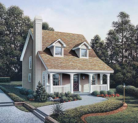 Country appeal for a small lot 57027ha 1st floor for Country cape cod house plans