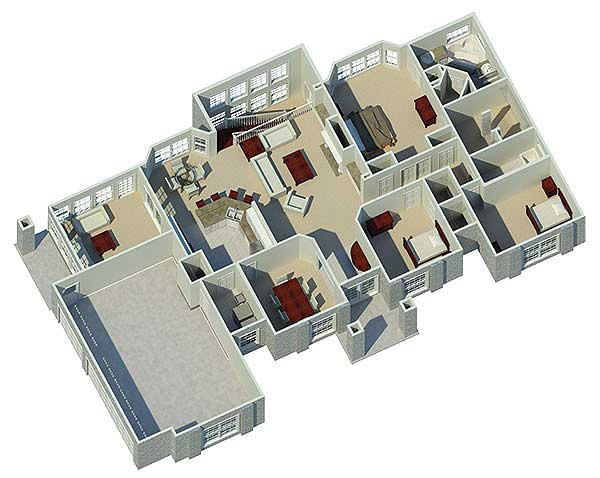 Atrium ranch home plan 57030ha 1st floor master suite for Modern one bedroom house plans 3d