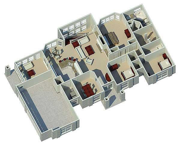 Atrium Ranch Home Plan 57030ha Architectural Designs