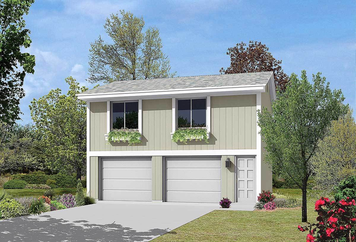 2 Car Garage Apartment Plans: 2 Car Garage Apartment - 57064HA