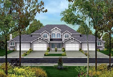 Fourplex with multi gabled facade 57078ha for Fourplex designs